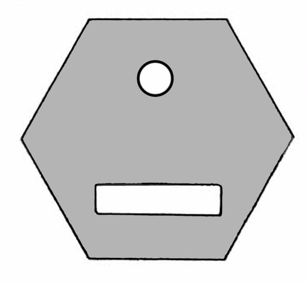 S851A Baustein grau mit Öffnung für Taster oder Schalter mit Beschriftungsfeld.