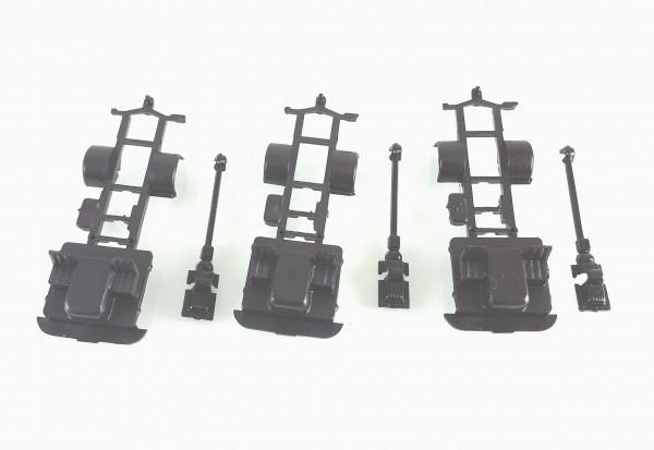 H0: 3 Stück Fahrgestell für Robur LO2500 in schwarz
