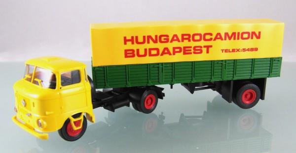 """W50L/SZ mit Pritschenauflieger """"Hungarocamion"""", Fahrerhaus gelb"""