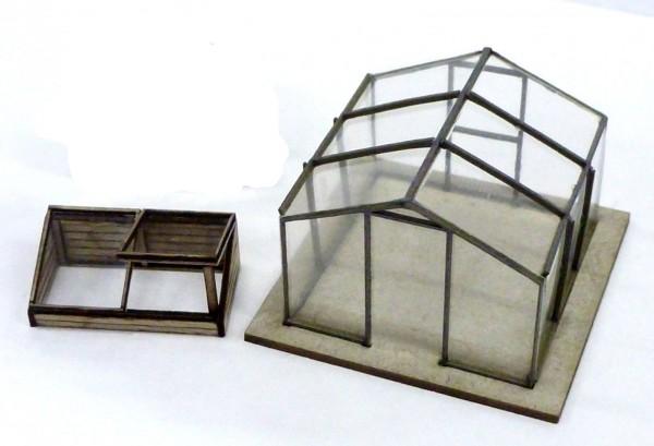 N: Lasercutbausatz: Verglastes Gewächshaus mit Frühbeetkasten