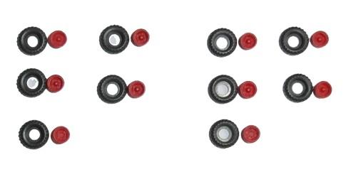 TT: Niederdruckräder/ Ballonräder klein z.B. für Anhänger HW60, Felgen rot