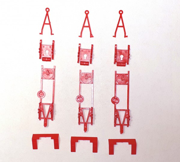 TT: E5 Anhängerfahrgestell 3 Stück in rot