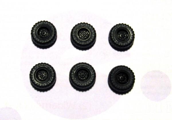 6 Stück Hinterrad mit Ballonreifen / Niederdruckreifen IFA W50LA, Felge schwarz