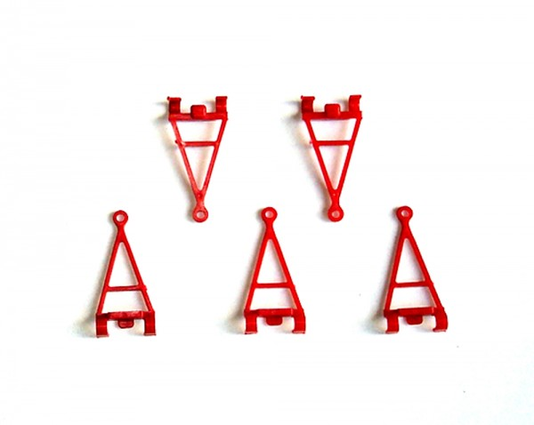 H0: 5 Stück Anhängerdeichseln rot zum Aufschnappen