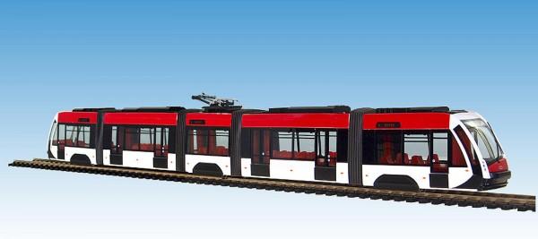 Solaris Tramino Straßenbahn in Werkslackierung. Standmodell