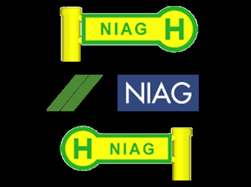 "Haltestellenschild ""Niag"", 4 Sück im Set"
