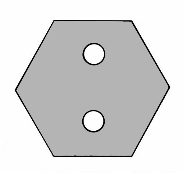 S850A Baustein grau mit 2 Öffnungen für Taster oder Schalter