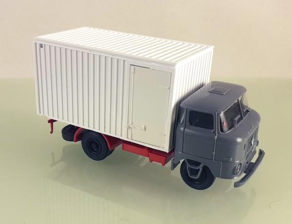 H0: LKW W50L Kofferaufbau (Thermokoffer) neutral, Fahrerhaus grau
