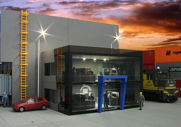 H0. Lasercutbausatz: Bürogebäude für Lagerhallen