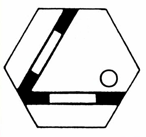 S956A Gleissymbol Gleichschenkelige Weiche für 2 Taster