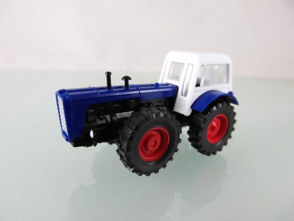 Traktor Dutra D4K blau / weiß mit roten Felgen