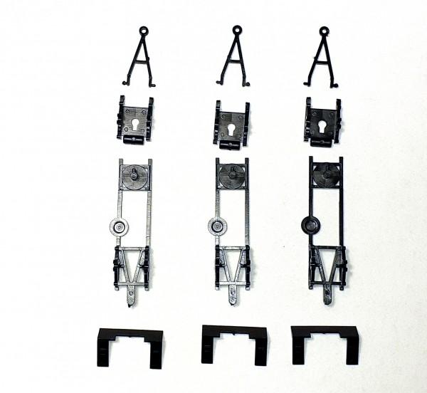 TT: E5 Anhängerfahrgestell 3 Stück in schwarz