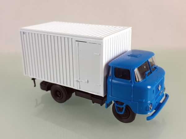 H0: LKW W50L Kofferaufbau (Thermokoffer) neutral, Fahrerhaus blau