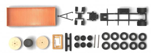 H0: Kommunaler Pritschen Anhänger Obus-Leitungsbau mit Kabeltrommel (Bausatz)