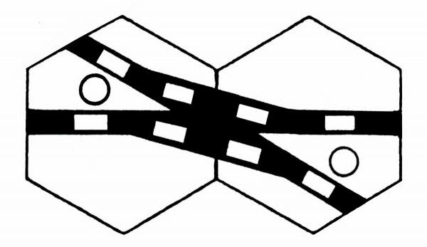 S958E Gleissymbol für Kreuzungsweichen mit einem Weichenantrieb
