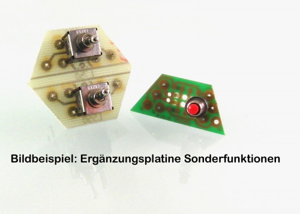L751 Ergänzungsplatine mit einem Schalter mit 2 Umschaltkontakten und rot/weiß Ausleuchtung