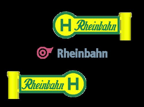 """Haltestellenschild """"Rheinbahn"""", 4 Stück im Set"""