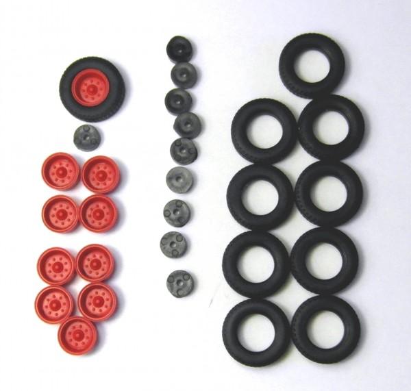 2 Satz Hochdruckbereifung für Anhänger HW80, E5 und andere. Felgen rot