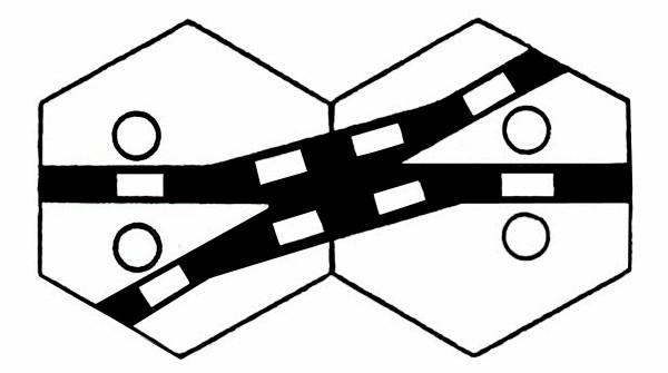 S959A Gleissymbol Kreuzungsweichen für 2 Antriebe