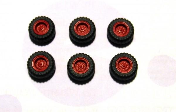 6 Stück Hinterrad mit Ballonreifen / Niederdruckreifen IFA W50LA, Felge rot
