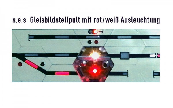 Schnupperangebot Gleisbildstellpult mit LED-Ausleuchtung rot/weiß