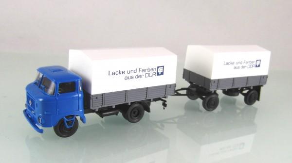 """FG000061 W50L Hängerzug Pritsche / Plane """"Lacke und Farben aud der DDR"""""""