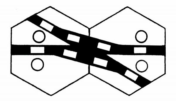 S958A Gleissymbol Kreuzungsweichen für 2 Antriebe