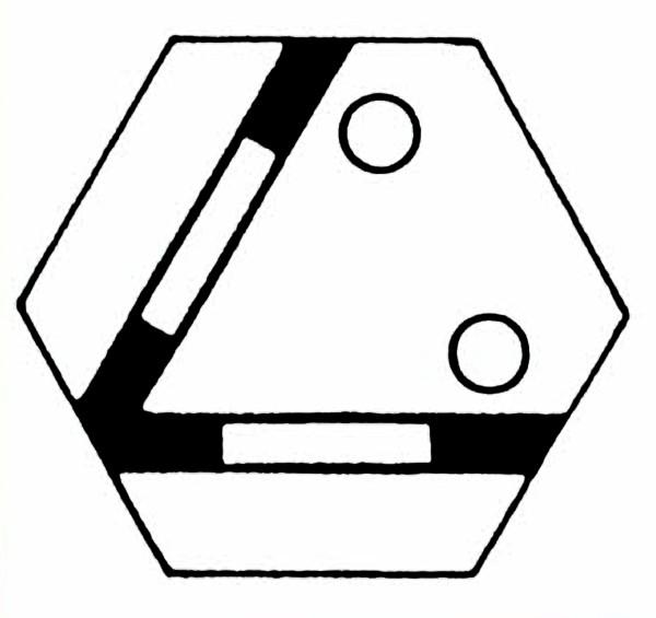S906A Gleissymbol Gleichschenkelige Weiche für 2 Taster-Copy