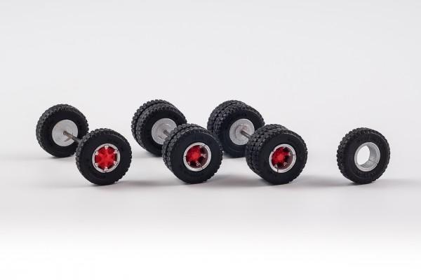 Radsatz mit Trilex Felgen. 12,45 mm mit Baustellenbereifung