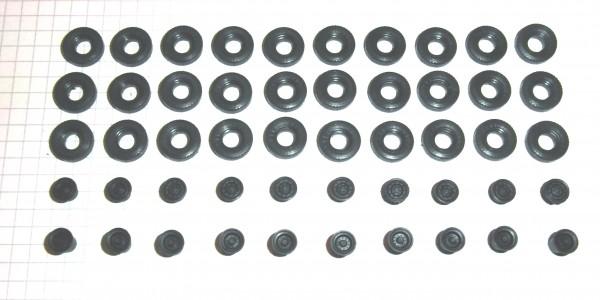 Sortiment Hochdruckreifen und Felgen für Busse und Lkw. Felgen schwarz