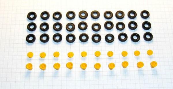 Sortiment Hochdruckreifen und Felgen für Lkw W50 / G5. Felgen postgelb